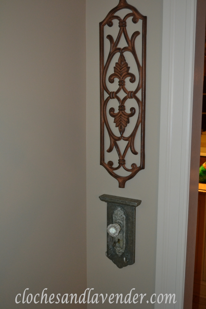 Old Door Knob and Wrought Iron Accent Piece