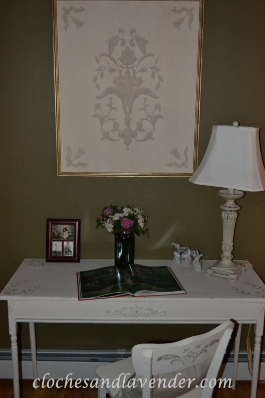 Spirea in Green Glass on Writing Desk With My French Picture Book