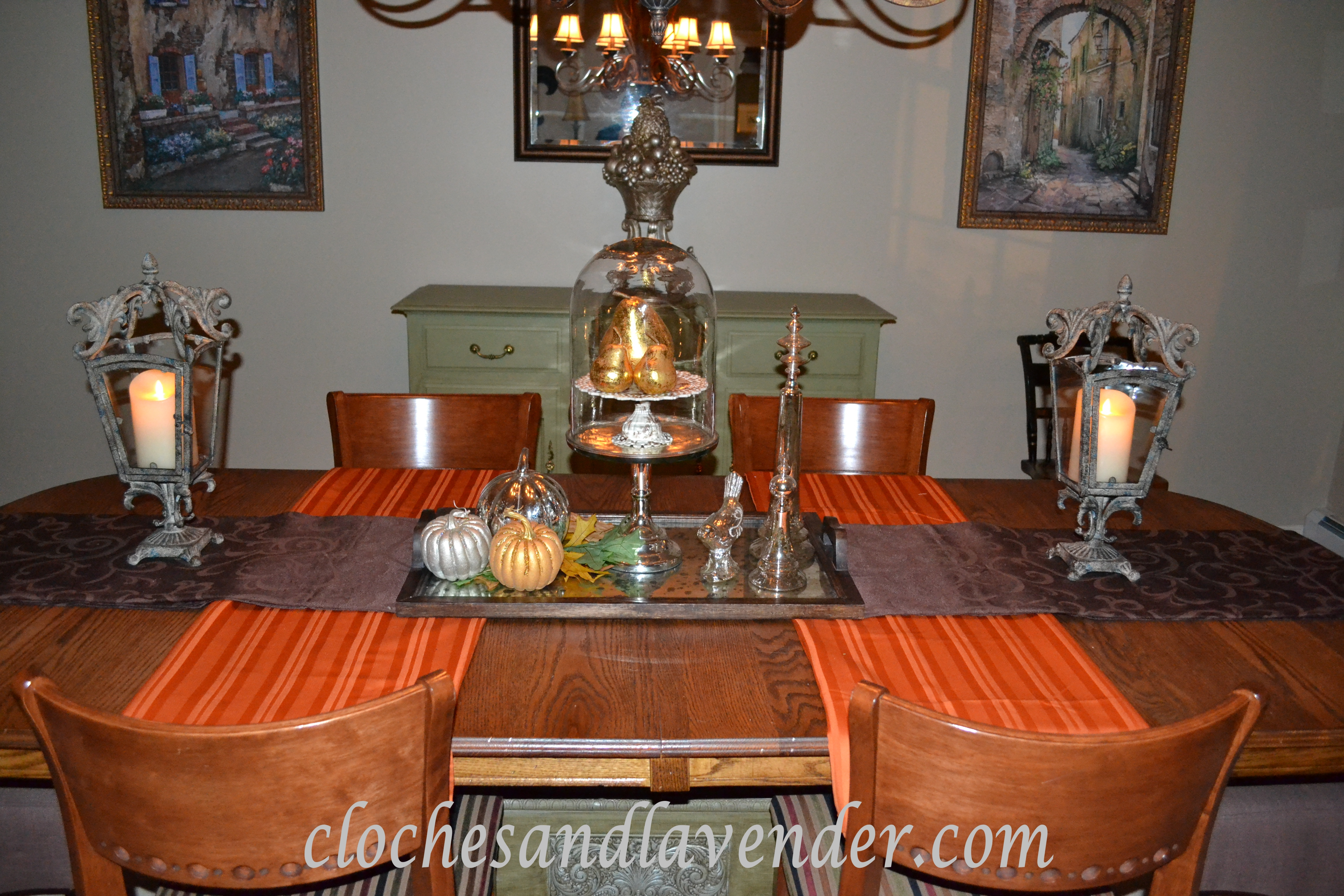 dining room got the fall treatment cloches lavender i
